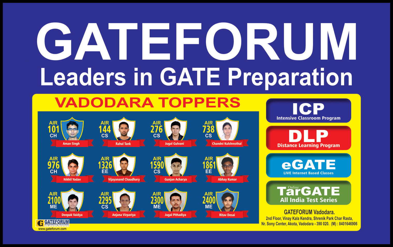 Top rankers in GATE Exam studied with Carrer Solution Academy (CSA) GATEFORUM